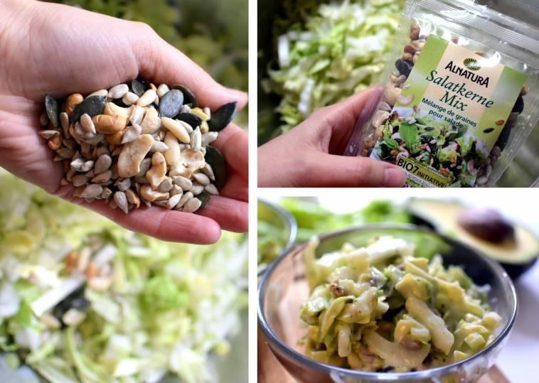 chinakohl spitzkohl salat mit avocado dressing und salatkernen ich lebe gr n. Black Bedroom Furniture Sets. Home Design Ideas