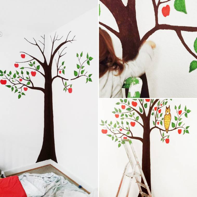 kinderzimmer bemalen apfelbaum wand gestalten ich lebe gr n. Black Bedroom Furniture Sets. Home Design Ideas