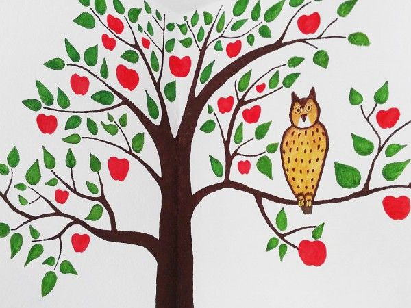 Kinderzimmer bemalen: Apfelbaum / Wand gestalten - ich lebe grün!