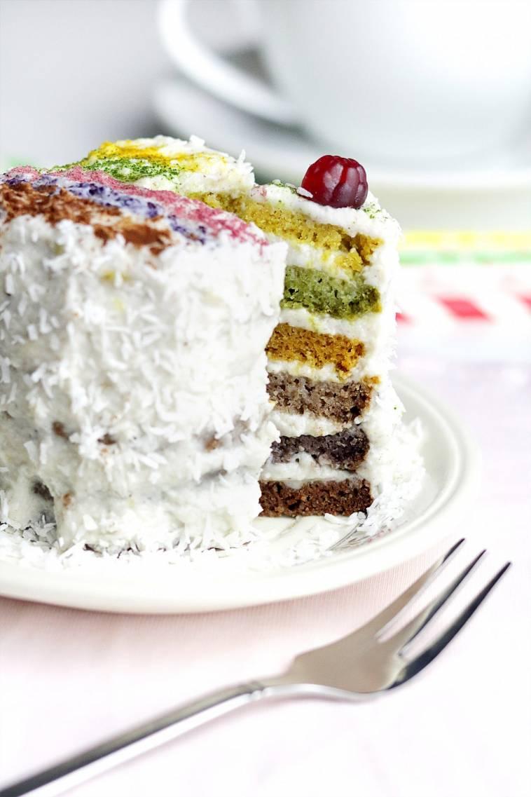 Regenbogentorte Mit Naturlichen Farben Vegan Glutenfrei Sojafrei